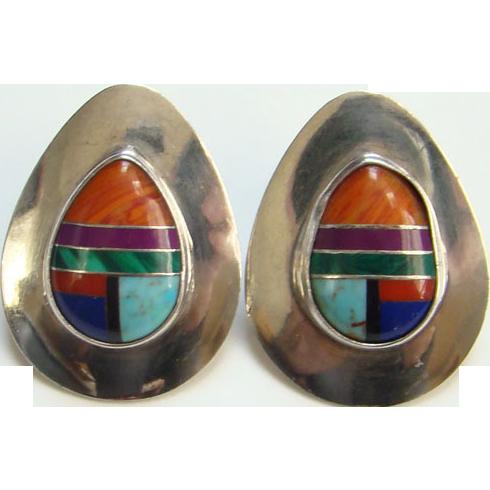 Vintage Sterling Silver Earrings Inlaid Stones Pierced Post