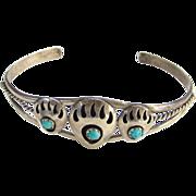 Vintage Southwestern Tribal Bear Paw Cuff Bracelet Sterling Silver Turquoise