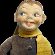 Lars Denmark Danish Cloth Boy Ski Doll Kimport C1939 Missing Hat 11 Inch - Red Tag Sale Item