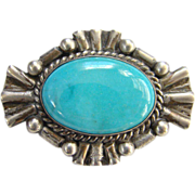 Vintage Southwestern Turquoise Sterling Silver Pin Handmade Signed Handmade