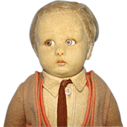 1926-30 Lenci Felt Cloth Male School Boy Doll 13 Inch Series 450 Cabinet Size Original