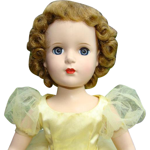 Madame Alexander 1950s Margaret Face Bridesmaid Doll Walker Yellow Tulle Gown 18 Inch