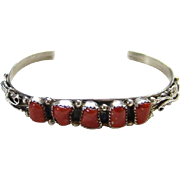 Southwestern Sterling Silver Deep Red Coral Cuff Row Bracelet Signed and Marked Bohemian Chic