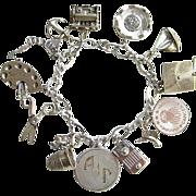 1964 Sterling Charm Bracelet 13 Charms 11 Sterling Original Owner Massachusetts Theme