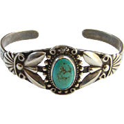 Vintage Fred Harvey Era Southwestern Navajo Style Turquoise Cuff Bracelet Sterling Silver Stamp Decoration