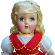 1950s Ideal Toni P-90 Doll in Tagged Red Dress 15 Inch Blond Hair