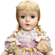 1950-51 American Character Sweet Sue HP Doll Strung Non Walker 14-15 Inch Blond Braids Original Clothing