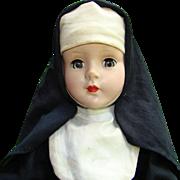 C1950s Hard Plastic Walker Nun Doll Dressed 15 Inch