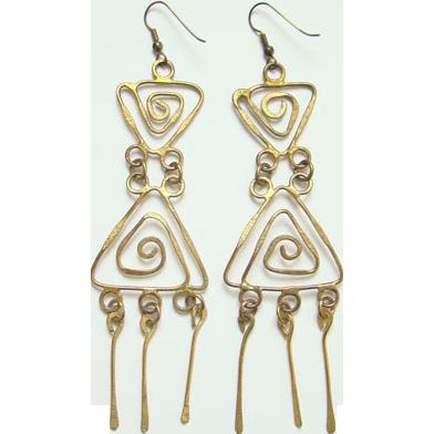 Vintage Abstract Bohemian Boho Long Dangle Brass Pierced Earrings Shoulder Duster
