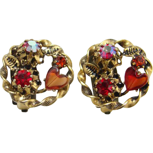 Vintage Austria Red Rhinestone Gold Tone Clip earrings Hearts Aurora Borealis Signed