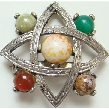 Vintage Celtic Scotland Scottish Brooch Pin Faux Agate Stones