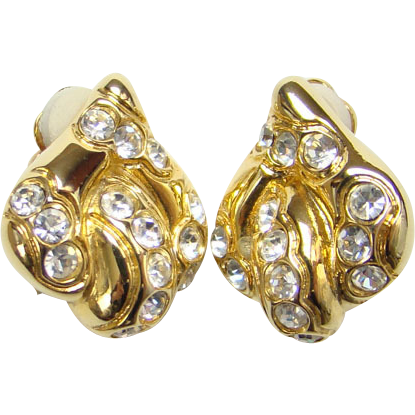 Vintage Oscar de la Renta Haute Couture Fashion Earrings Pave Ice Rhinestone Gold Tone Signed