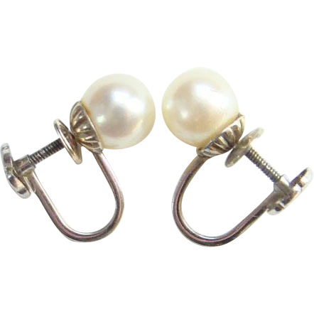 Vintage 14K White Gold and Cultured Pearl Screw Back Earrings Marked