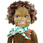 C1920-30 Norah Wellings Black Islander Velveteen Cloth Boy Character Doll 19 Inch Glass Eyes