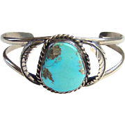 Vintage Navajo Turquoise Cuff Bracelet Sterling Silver Feather Decoration Native American