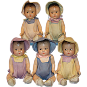 C1930s Old Composition Dionne Quintuplets Doll Set of 5 Original Outfits in Box Unmarked 7 Inch