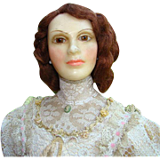 NIADA Artist Lewis Sorensen 25 Inch Wax Portrait Doll Gibson Girl Beautiful Rare