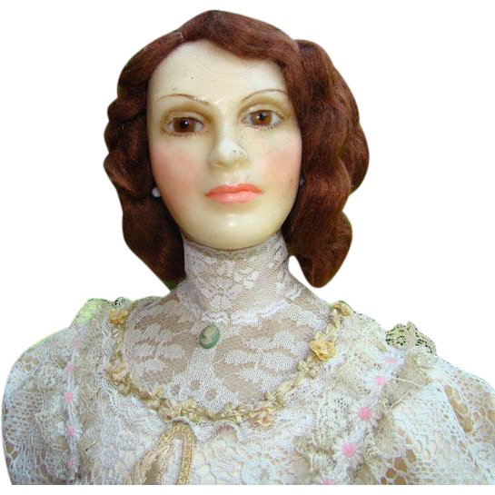 NIADA Artist Lewis Sorensen 25 Inch Wax Portrait Doll Gibson Girl Beautiful Rare