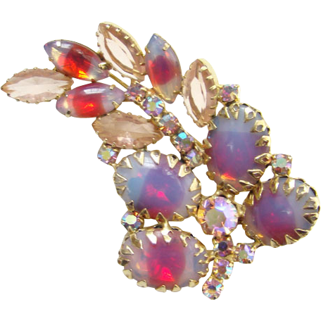 Vintage Brooch Pin Pink Blue Givre Oval Cabochon Rhinestone Aurora Borealis