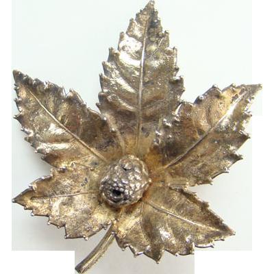 Vintage 1950s Sterling Silver Flora Danica Eggert Leaf Pin Brooch Denmark Danish Gold Vermeil