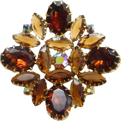 Vintage Topaz Rhinestone Square Brooch Pin Unsigned Beauty