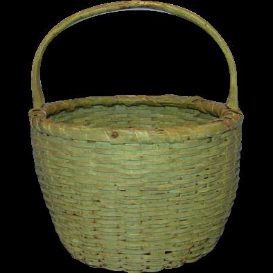 Antique Primitive New England Round Handled Basket Apple Green Milk Paint Ash Splint