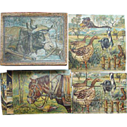 C1870 Antique German Chromolithograph Child Animal Puzzle Blocks Toy Original Box