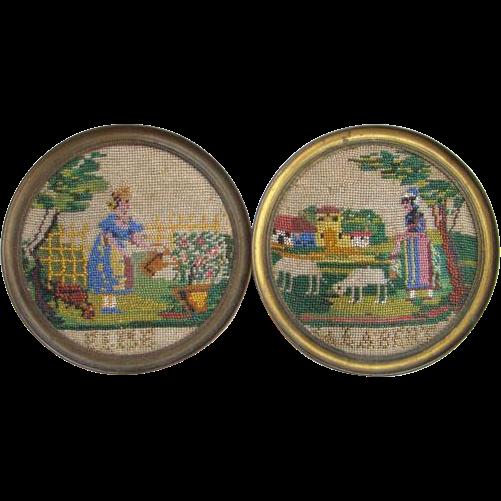 Needlework Sampler Pair Victorian Beadwork Signed Elise Calabert Rare 19thC