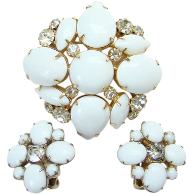 Vintage Marvella White Milk Glass Rhinestone Pin Brooch Clip Earrings Set Signed