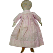 19thC Antique Painted Cloth Rag Doll Pink Dress Head Gusset Striped Legs 17 Inches