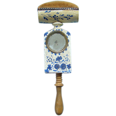 Antique 1800s Pennsylvania Wood Folk Art Sewing Clamp Bird Pin Cushion Blue White Paint Decoration with Mirror