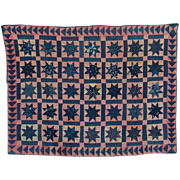 Antique 19thC Folk Art Crib Quilt Variable Star Blue Calico All Handsewn Quilted New England