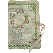Old Cross Stitch Embroidered Sewing Needle Pin Book Floral Wreath Bow