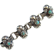Taxco Turquoise and Sterling Bar Pin Brooch Stylized Flowers Hallmarked Mexico Silver