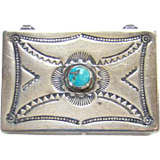 Native American Navajo Pill Box Turquoise and Sterling Silver Stamp Decorated
