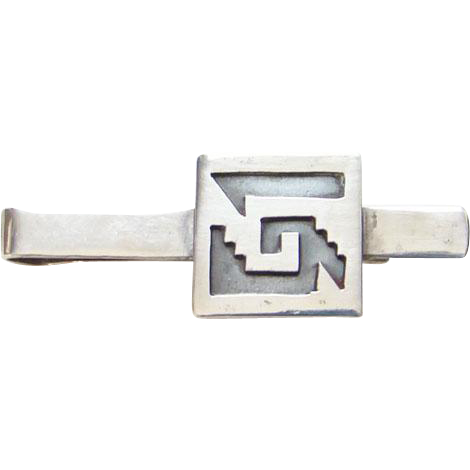 Taxco Mexico 925 Sterling Silver Overlay Tie Clip Signed RBZ Mexican Jewelry