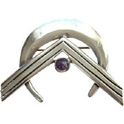Taxco Mexico Sterling and Amethyst Modernist Brooch Pin JH Eagle 3 GRO