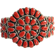 Zuni Red Coral Cluster Cuff Bracelet Sterling Silver Signed JW Native American Indian Jewelry