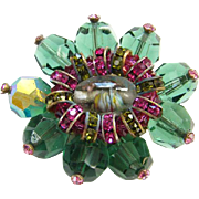 Vintage Hattie Carnegie Fuchsia Green Rhinestone Bead Brooch Art Glass Signed