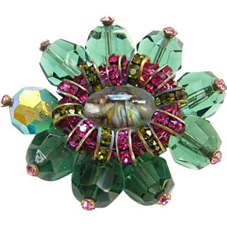 Vintage Hattie Carnegie Fuchsia Green Rhinestone Bead Brooch Art Glass Signed