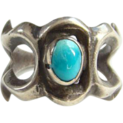 Southwestern Navajo Style Sand Cast Sterling Turquoise Ring Size 7.5 Native American Jewelry