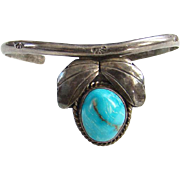 Southwestern Navajo Style Turquoise Cuff Bracelet Sterling Silver Indian Jewelry