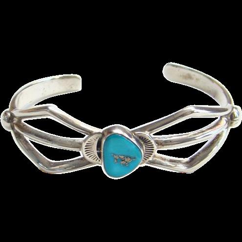 Southwestern Tribal Navajo Sand Cast Turquoise Cuff Bracelet Signed Boho Bohemian Gypsy Hippie