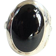 Vintage Sterling Silver Black Onyx Perfume Poison Ring Size 5.5 Marked 925