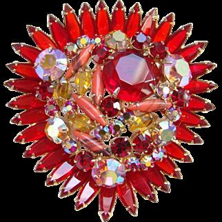 Juliana Ruby Red Rhinestone Brooch Aurora Borealis Coral Art Glass DeLizza Elster Verified
