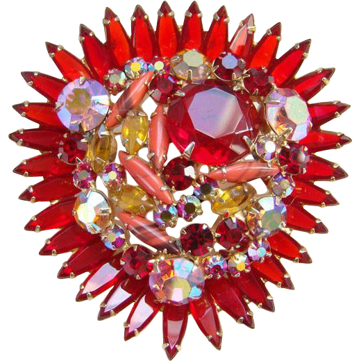 Juliana Ruby Red Rhinestone Brooch Aurora Borealis Coral Art Glass DeLizza Elster Verified