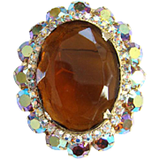 Vintage Large Topaz Rhinestone Pendant Brooch With Aurora Borealis Chatons Beautiful