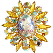 Juliana Stippled Cabochon Easter Egg Rhinestone Pendant Brooch Amber Navettes Verified Booth Piece