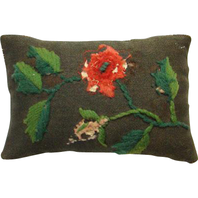 Old 19th Century Floral Crewel Embroidered Wool Sewing Pin Cushion