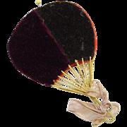 Old 19thC Needle Pin Sewing Case Holder Fan Shape Burgundy Velveteen Needlework Tool
